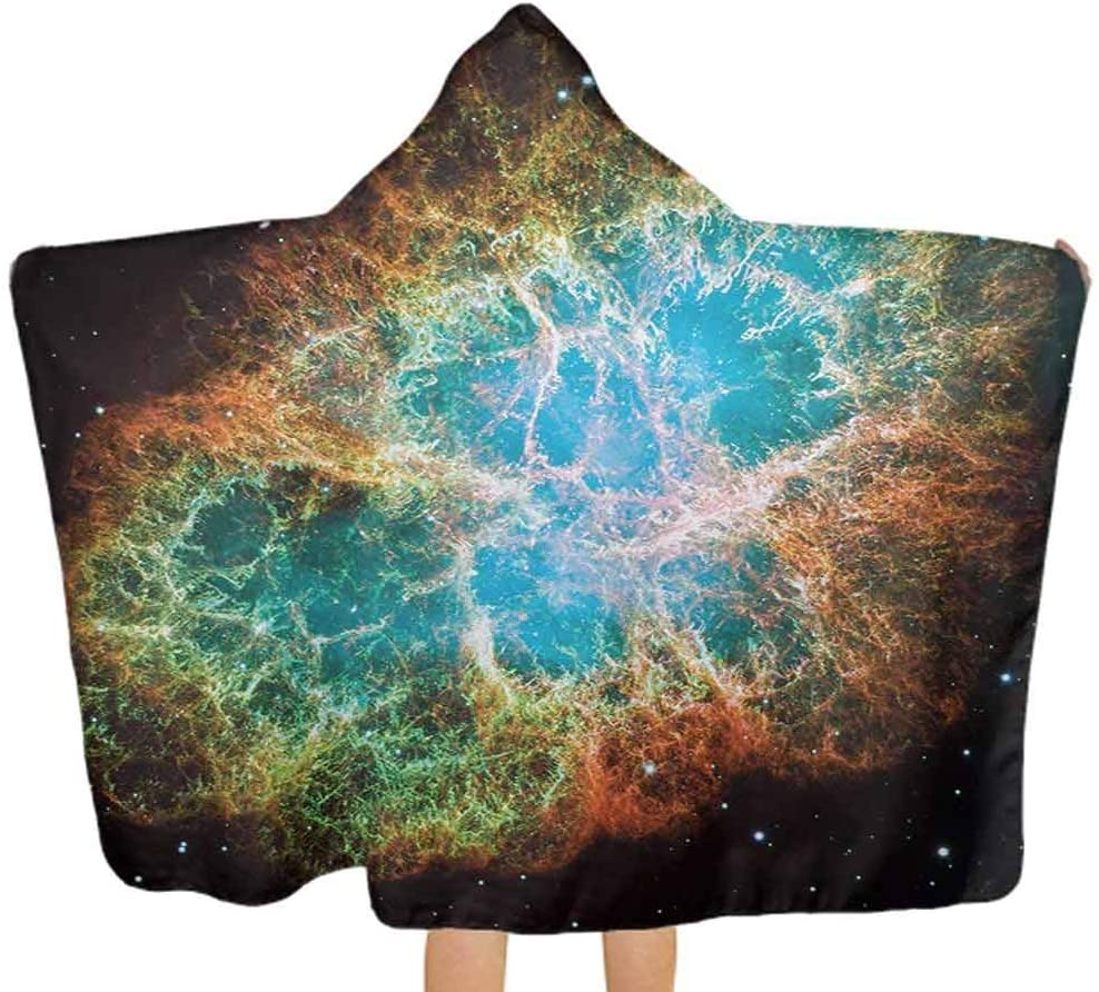 ThinkingPower Baby Hooded Towel Image of Crab Nebula in Early Age Clean Version of Original Space Print Premium Baby Towel with Hood Perfect for Girls and Boys Black Teal Orange 51.5x31.8 Inch