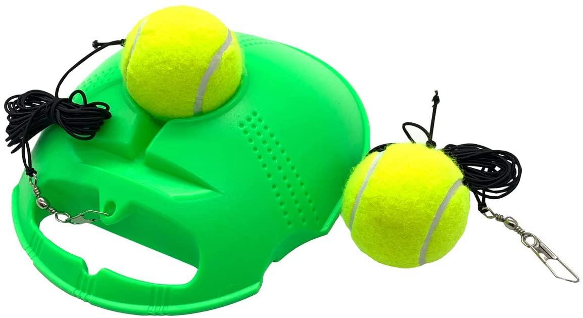 TaktZeit Tennis Trainer Self Training Rebound Baseboard Tennis Training Gear with 2 String Balls (FlashGreen-1.0-2020)