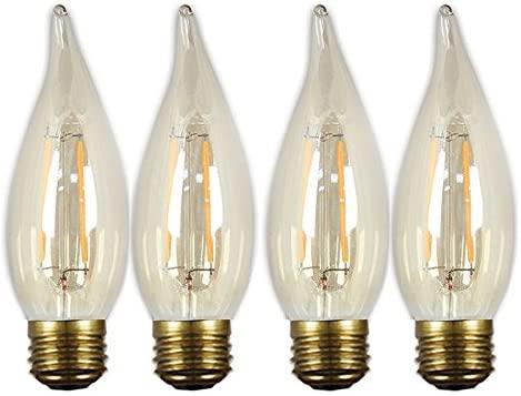GE Lighting 37621 LED Vintage Chandelier Light Bulb with Medium Base, 3-Watt, Soft White, 4-Pack, Amber Glass