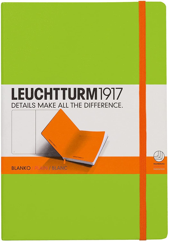 LEUCHTTURM1917 343149 Notebook Medium (A5), 249 Numbered Pages, Bicolore, Plain, Lime/Orange