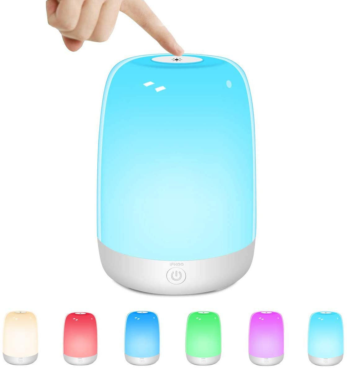 Outdoor Table Lamp, iFkoo Touch Sensor Bedside Lamp with Dimmable Warm Light, Rechargeable Night Light for Bedrooms, Living Rooms & Color Changing RGB Sleep Lamp, Best Gifts for Baby, Teens, Adults