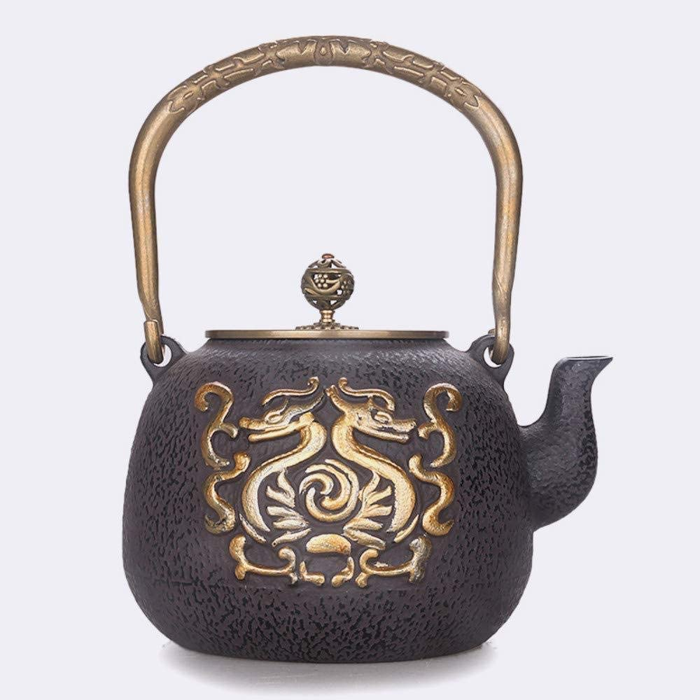 ZXY-NAN Ceramic Tea Sets Cast Iron Iron ese Iron Pot Cast Iron Pot Cast Iron Totem Copper Cover Gold Oxide Film Hand-Cast Copper Cover Water 鎏 Gold  1 3L