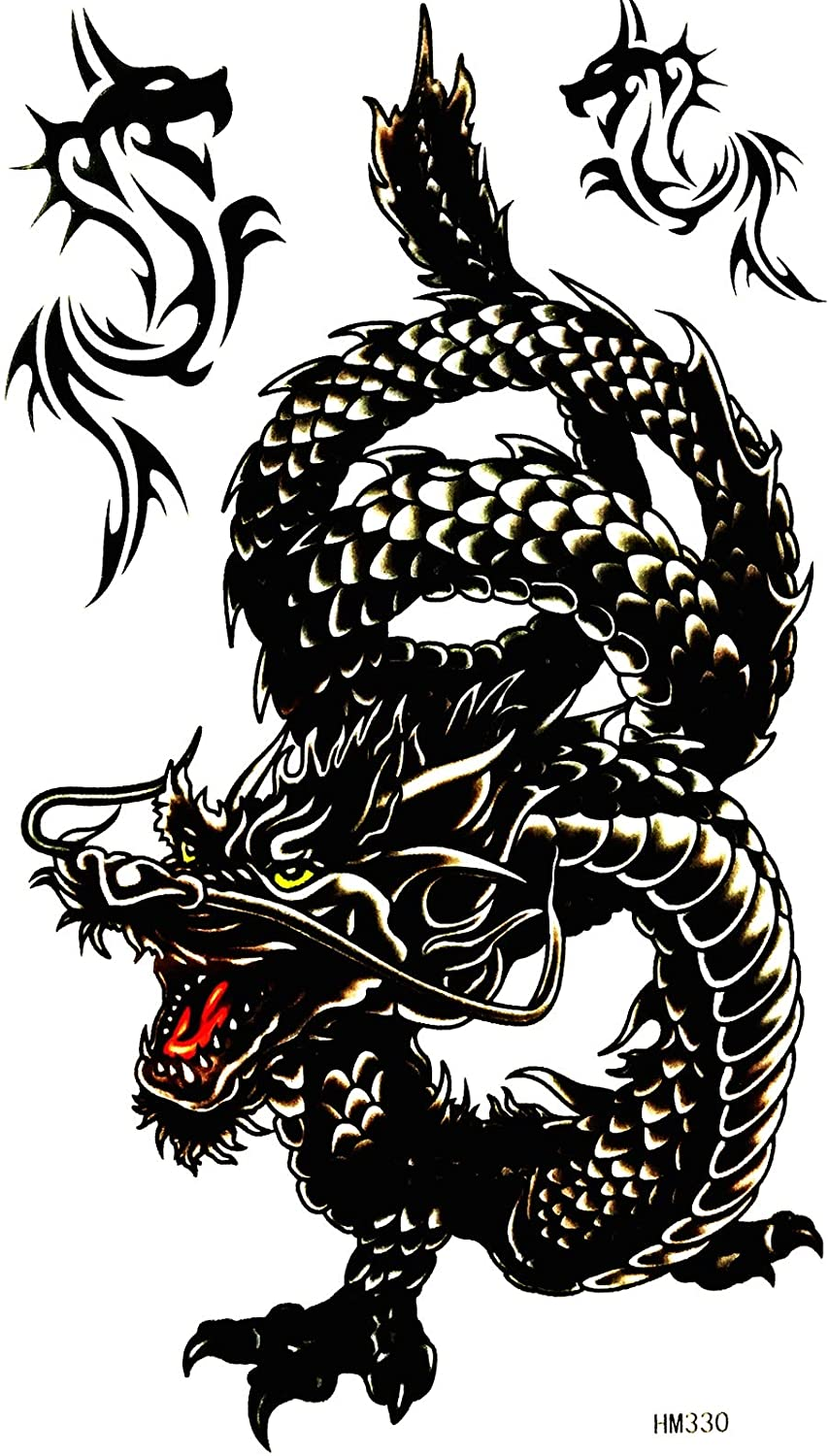 The dragon is a magical animal of China and the West 4X8 in MEGADEE Tattoo Sticker Body Arm Leg Body Art Beauty Makeup Cool Removable Waterproof Tattoo Sticker Great as happy gift (Tattoo Sticker 083)