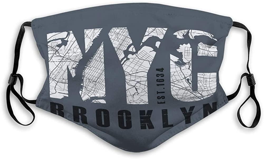 langhu Mask Unisex Mask for Teens Men Women New tork Brooklyn Apparel Print Typo New tork Fashion Mask