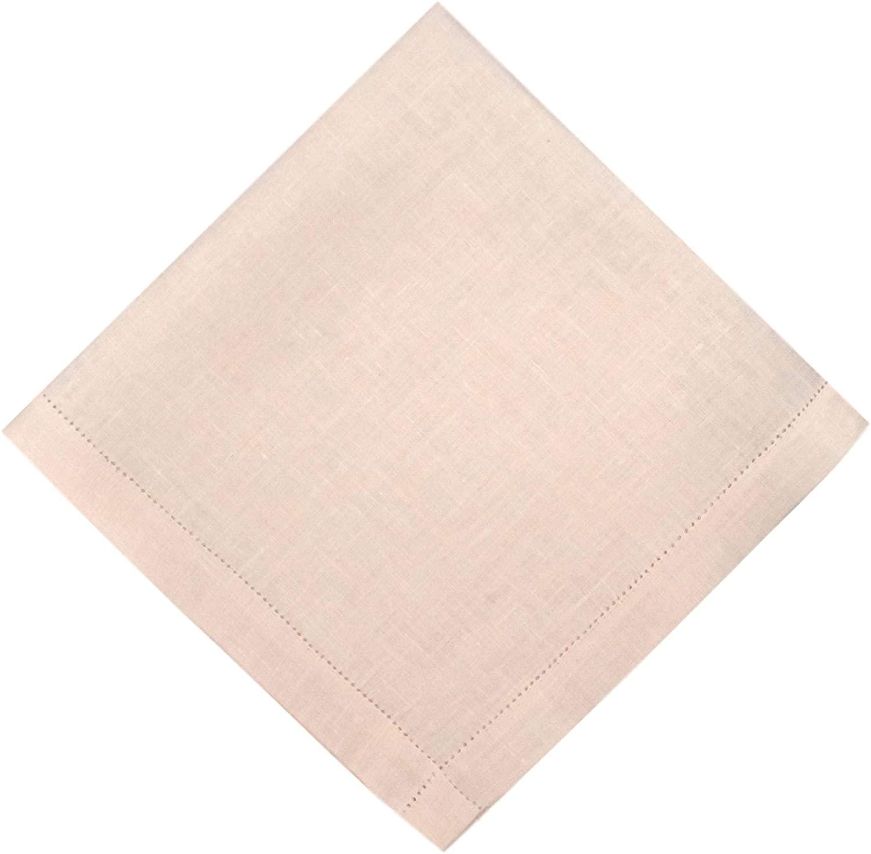 Thomas Ferguson Gentlemen's Hint of Pink Hemstitched Irish Linen Handkerchief Pack of 2 in Gift Box 16 x 16 inches