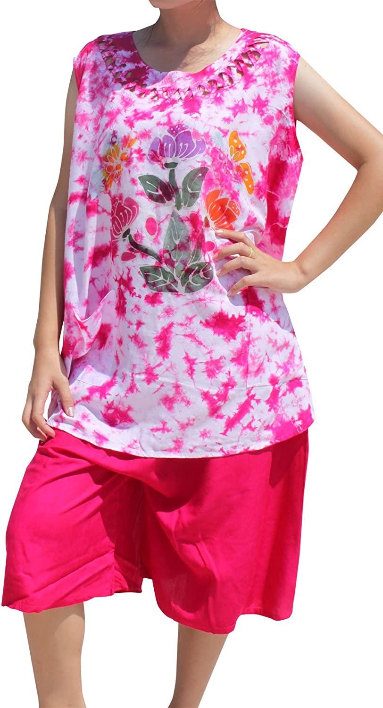 Full Funk Ladies Thai Made Tie Dyed Pyjama Set Light Rayon Batik Print Pajamas