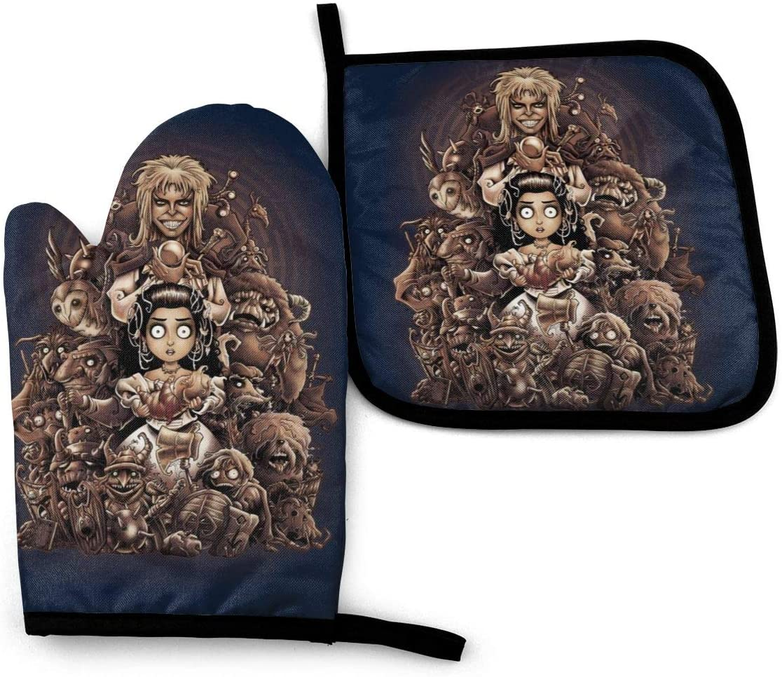 SDFDFGD Labyrinth Thirteen Hours Tim Burton -Oven Mitts and Pot Holders Heat Resistant Kitchen Bake Gloves Cooking Gloves