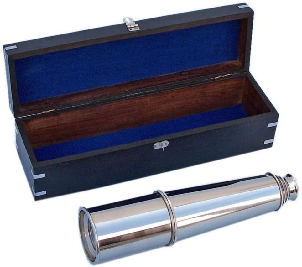 Hampton Nautical 3xglass-101 Deluxe Class Hampton Collection Chrome Spyglass with Black Rosewood Box 36