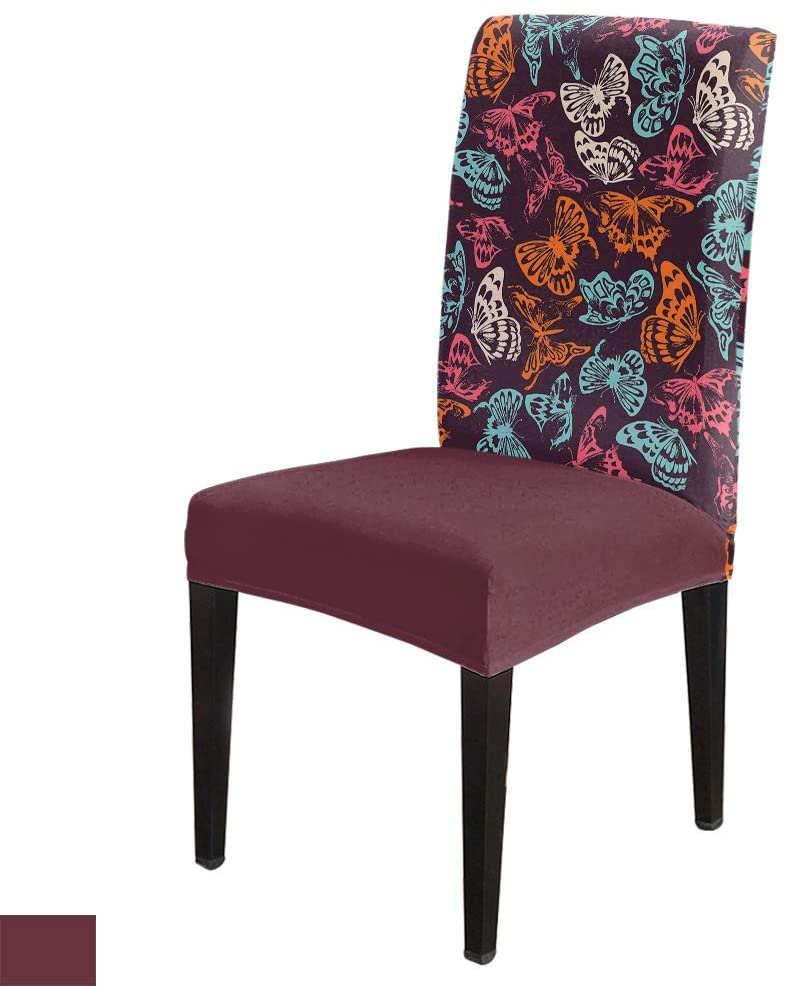 Colorful Betterfly Patterns -Removable Chair Covers Set Spandex Dining Chair Protector Slipcovers for Ceremony, Party, Restaurant, Hotel- 6 Pack