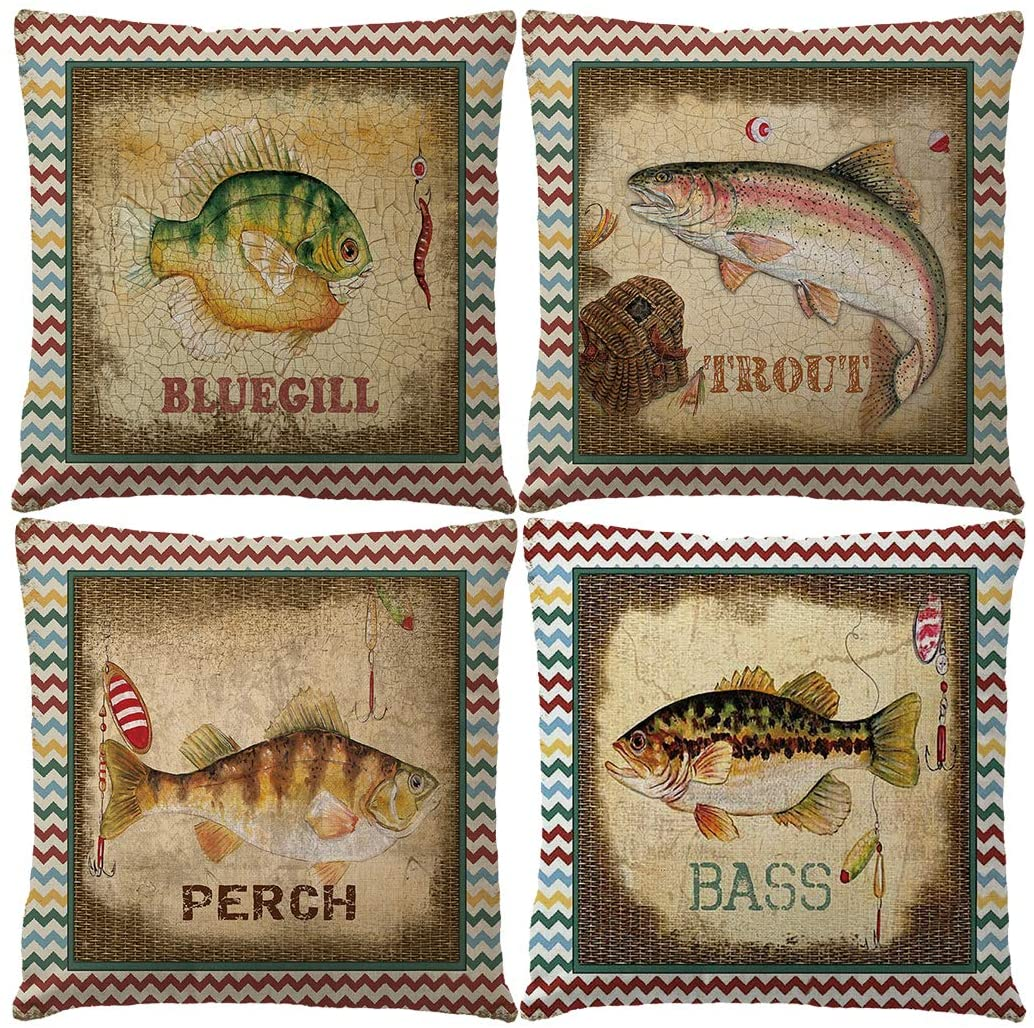 """7COLORROOM Set of 4 Vintage Sea Theme Pillow Covers Colorful Nautical & Ocean Style Stripe Fish Pattern Cushion Covers Beach Home Decorative 18""""×18"""" Pillowcases for Patio Sofa Couch (Fish)"""