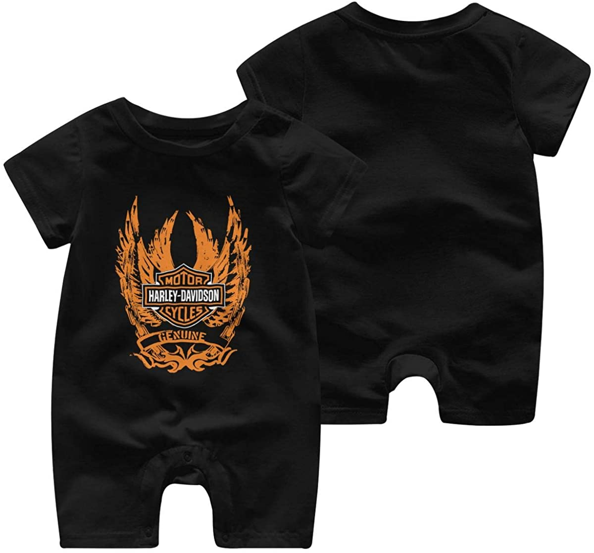 Harley Davidson One Piece Outfits Baby Solid Color Rompers with Button Kids Short Sleeve Playsuit Jumpsuits Cotton Clothing 2t Black