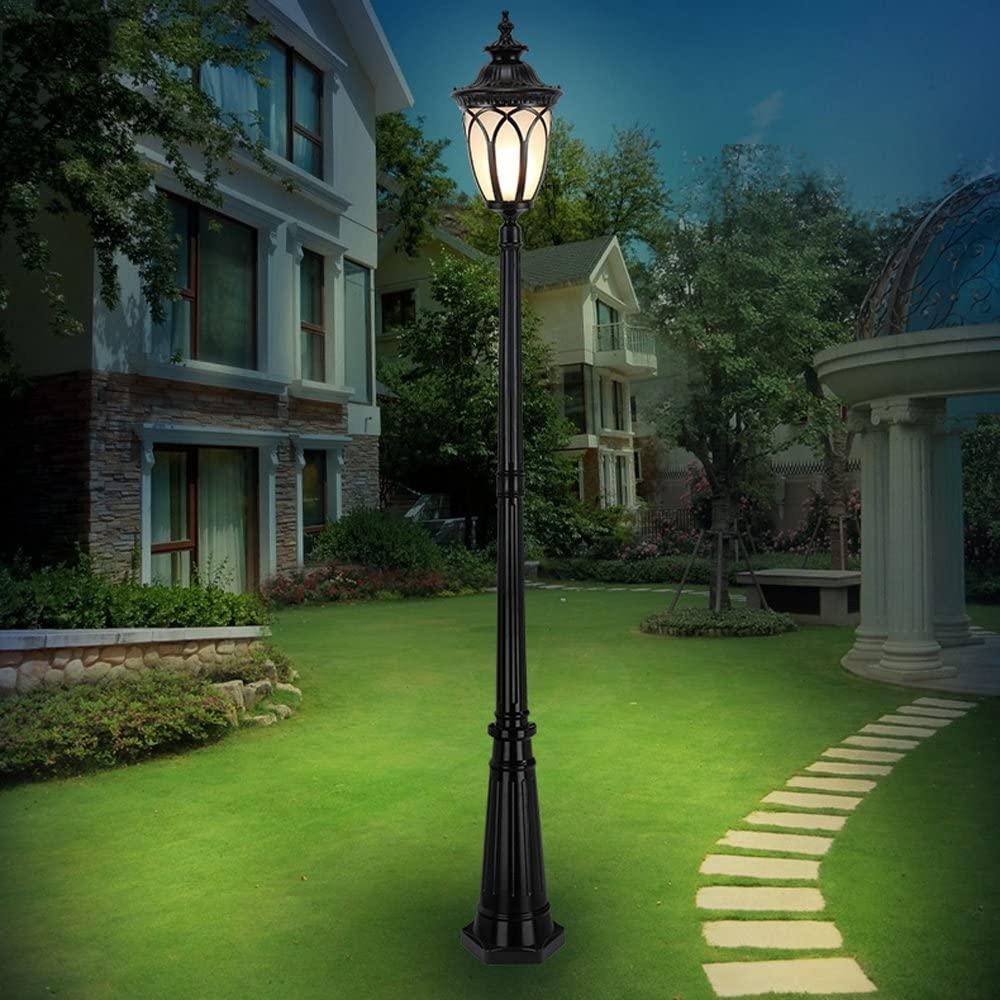 Modeen Victorian Style Black IP55 Waterproof Outdoor Garden Lamp Post Light Glass Column Lamp LED E27 Decoration Street Light Lawn Villa Lamp Post Lamp Path Decking Patio Garden Lights