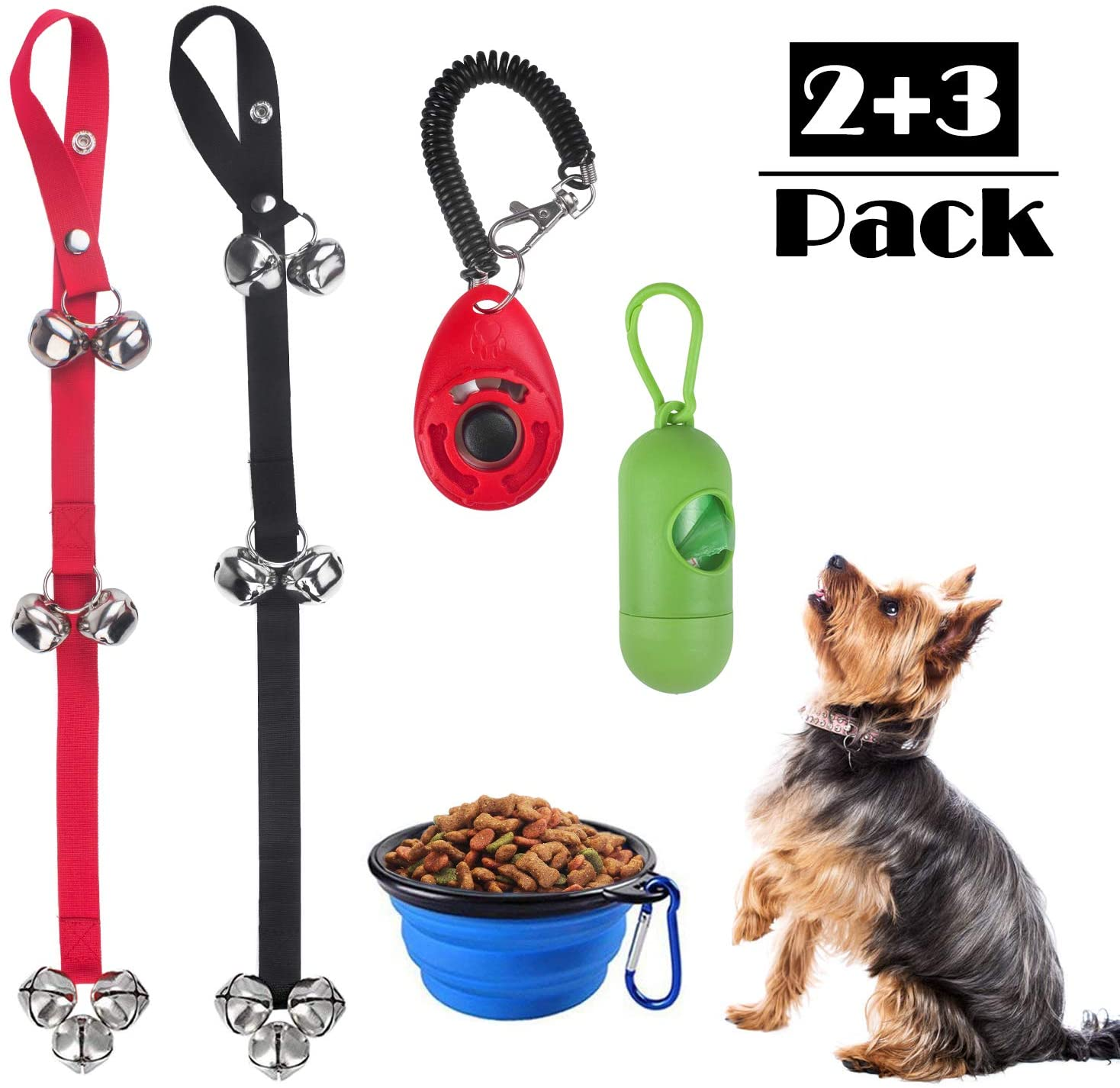 Beinhome Dog Training Bells for Door, Set of 2 Adjustable Puppy Bell for Potty Training, Dog Doorbell with Collapsible Travel Pet Cat Dog Bowl & Training Clicker & Waste Bag Dispenser