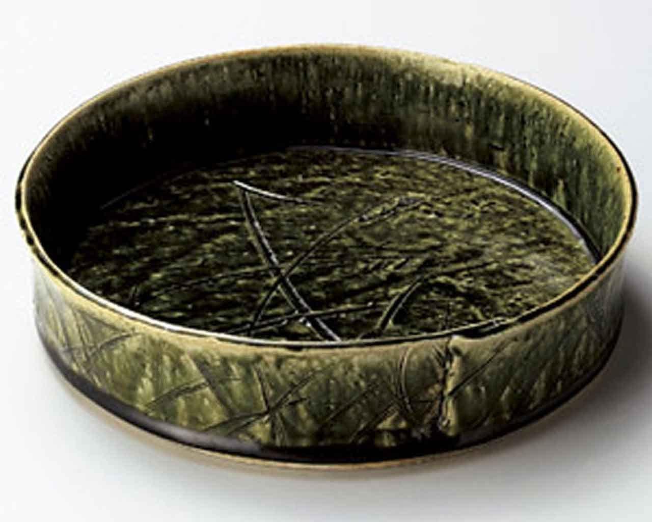 Oribe 9.3inch Large Bowl Green Ceramic Made in Japan