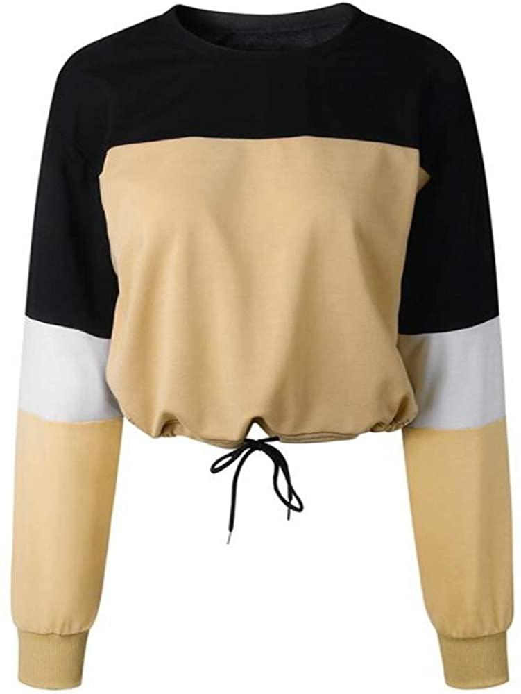 Portazai Women Tops and Blouses,Teengirls Juniors Crop Tops Color Block Long Sleeve Casual Loose Pullover Sweatshirts