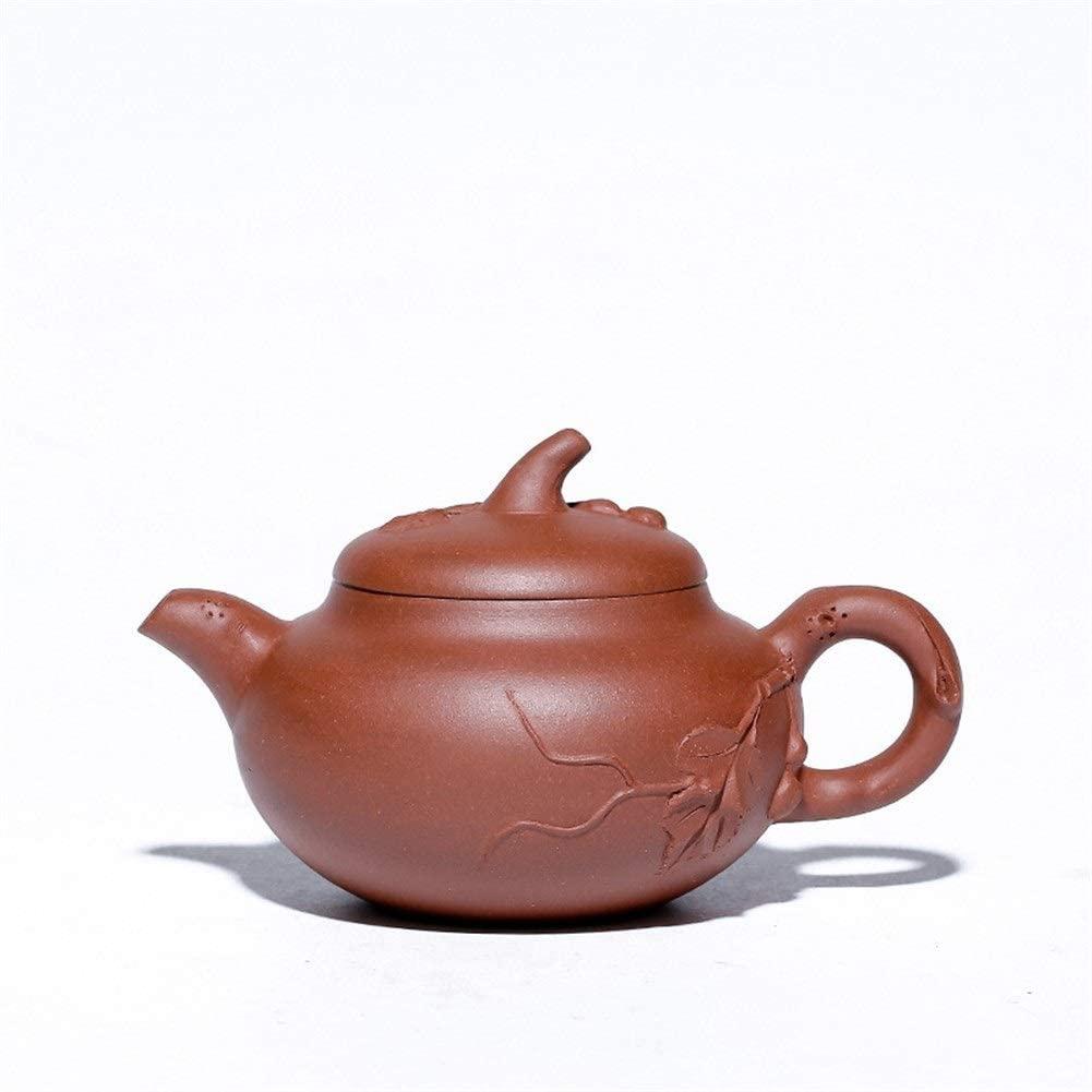 MADONG Ore purple clay teapot hand-applique eggplant segment teapot (Color : Red)