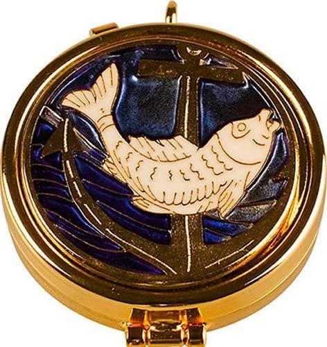 Pyx with Enamel Fish Motif & Lourdes Prayer Card