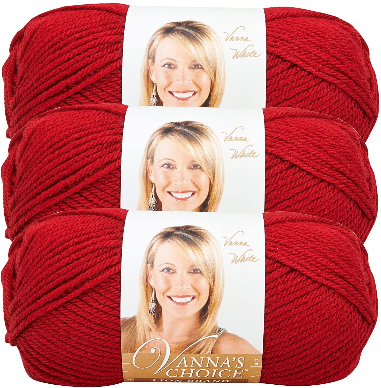 (3 Pack) Lion Brand Yarn 860-180E Vanna's Choice Yarn, Cranberry