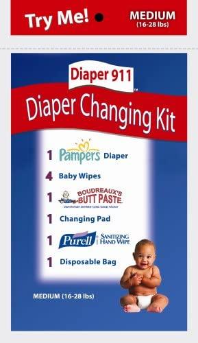 Diaper911 Diaper Changing Kit 6 Pack+Portable Diaper Bag (Medium) For Children 16-28 lbs.