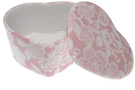 ACSWEBSHOP Ceramic Elegant Heart Shape Jewelry Box Japanese Pink Floral Kimono Design