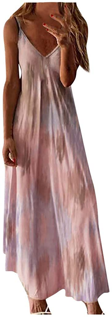 Smoxx Women's Sexy Waist Swing Dress Sleeveless Tie-Dye Printed Long Skirt Strappy Backless Summer Evening Party Maxi Dress
