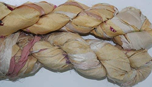 Sari Pure Silk 100g Ribbon Yarn Light Cream-Recycled Sari Silk Ribbon Yarn