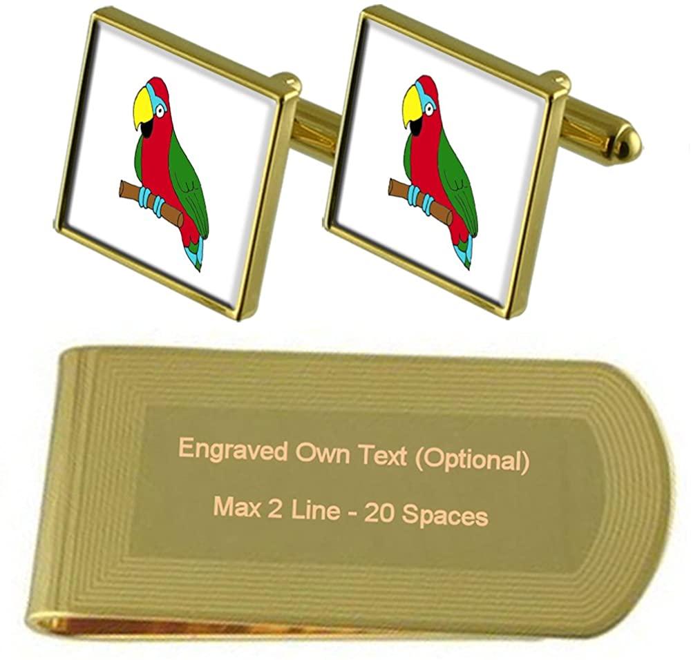 Parrot Bird Gold-tone Cufflinks Money Clip Engraved Gift Set