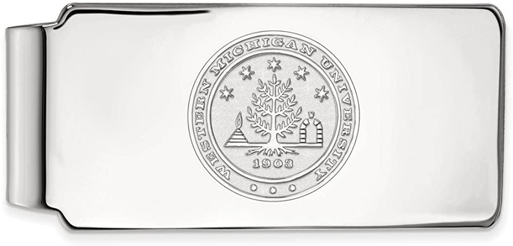 Solid 14k White Gold Official Western Michigan University Slim Business Credit Card Holder Money Clip Crest - 53mm x 24mm