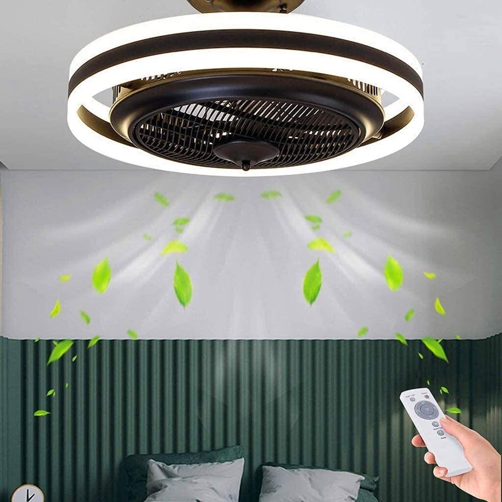 DLGGO LED Fan Ceiling Lights with Lighting Kit Chandelier Invisible Fan Light Adjustable Modern Industrial Bedroom Ceiling Lamps Dimmable Living Room Lamp with Remote Control Quiet Fan Kid's Room