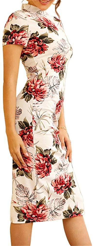 Paixpays Women's Sexy Chinese Cheongsam Dress Floral Print Slit Tight Dress