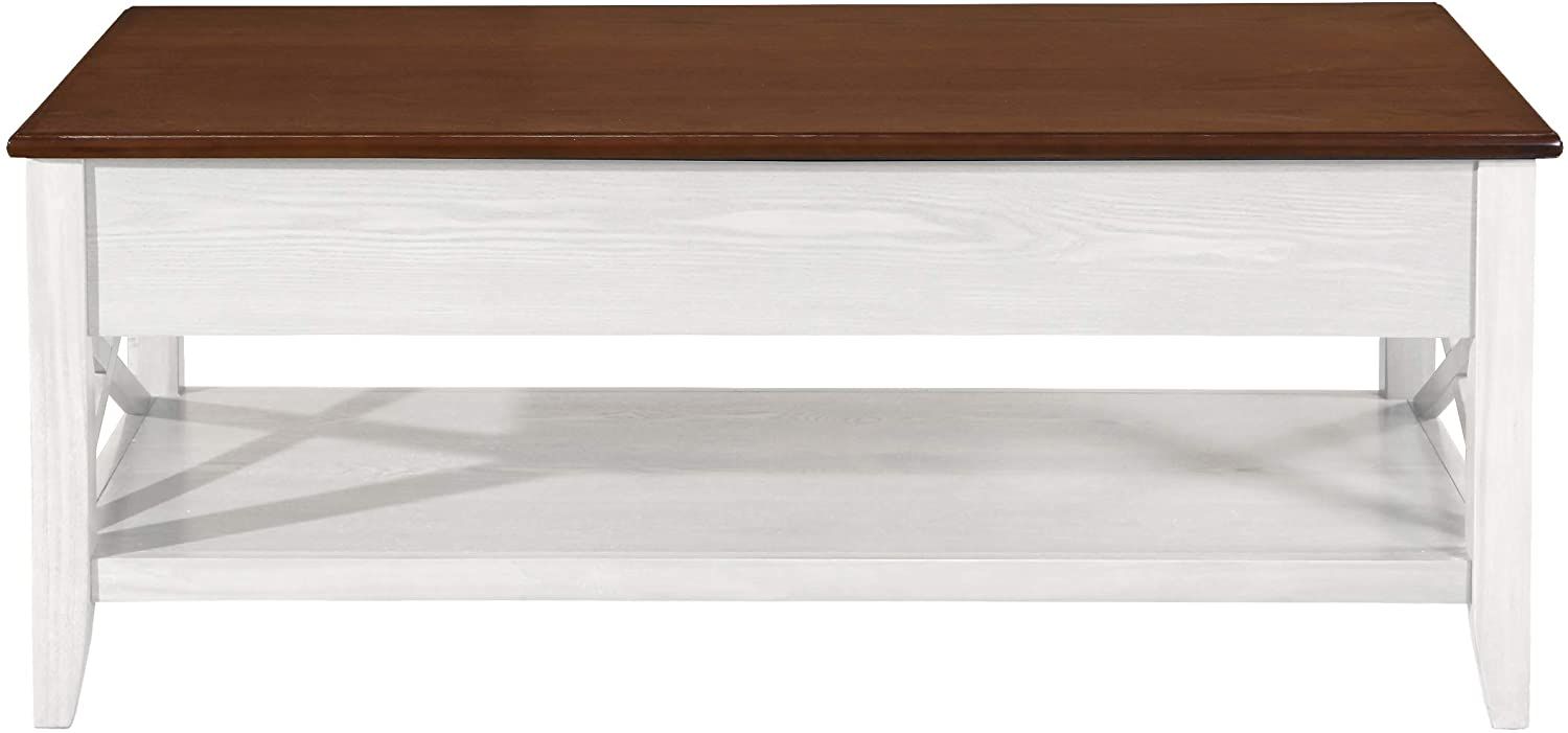 Christopher Knight Home Laurel Luke Farmhouse Faux Wood Lift Top Coffee Table, Brown and White
