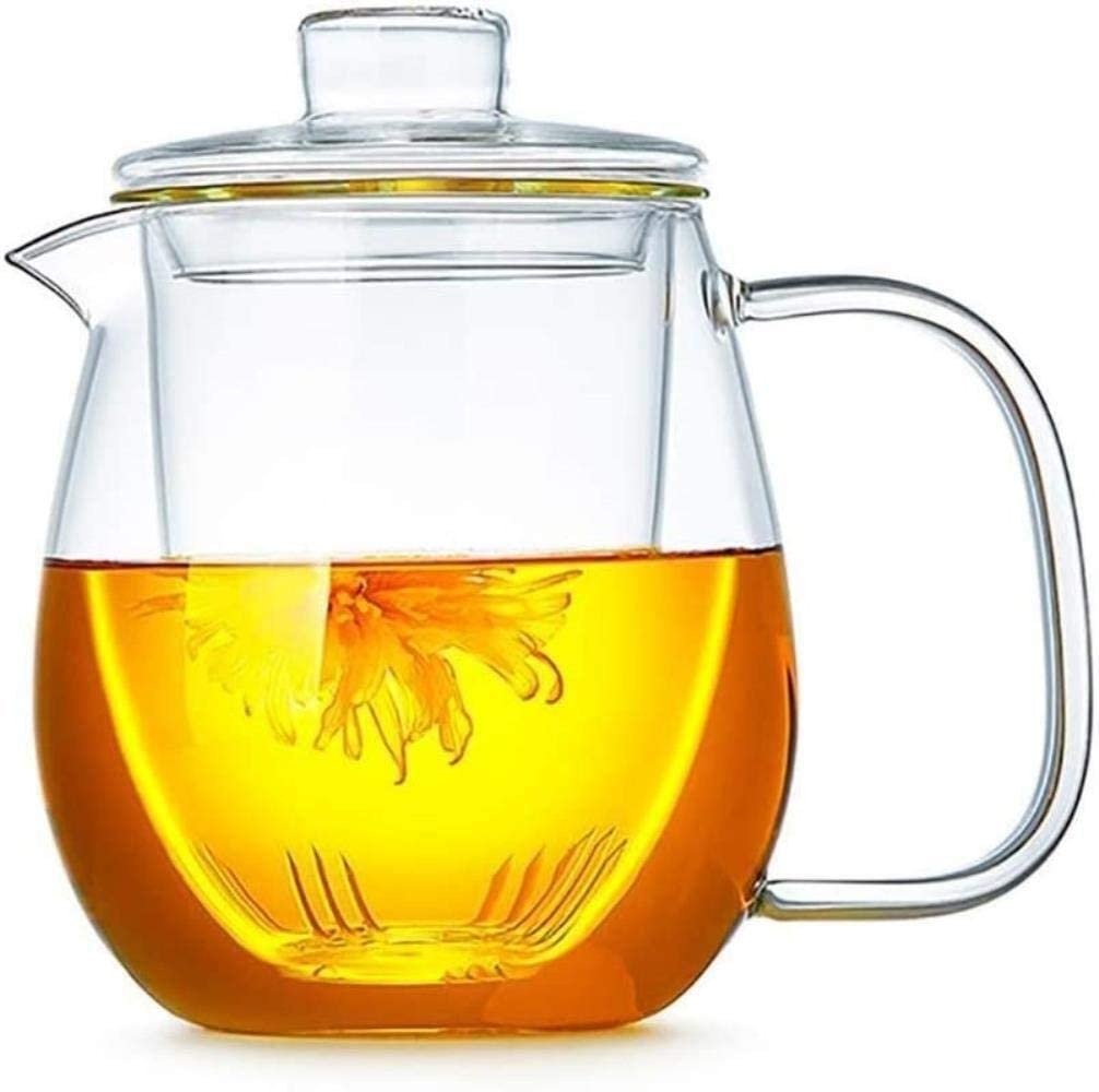 KFDQ Household Glass Kettle,Teapot Kettle Teapot Cup Teapot Cup Glass Pitcher Lid Ice Teapot Easy to Clean Easy to Pour Ideal for Wine Juice Milk Cold Water Hot Coffee Etc Free Cleaning Brush,a,a