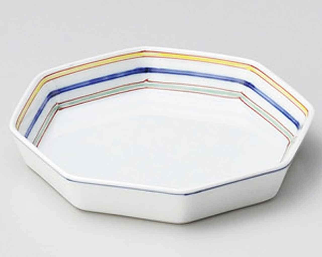 Octagon 7.9inch Set of 5 Small Plates White porcelain Made in Japan