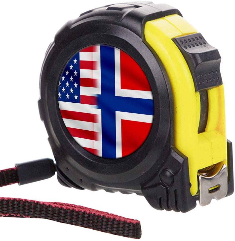 ExpressItBest Tape Measure with 16 Foot Steel Tapeline - Flag of Norway (Norwegian) - Norway Flag with USA