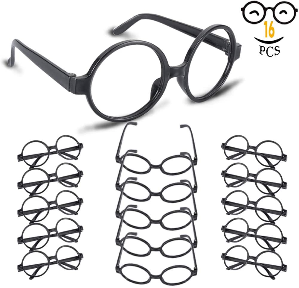 YoHold Wizard Glasses with Round Frame No Lenses for Kids Magical, Halloween, St Patrick's Day Costume Party, 16 Pack, Black