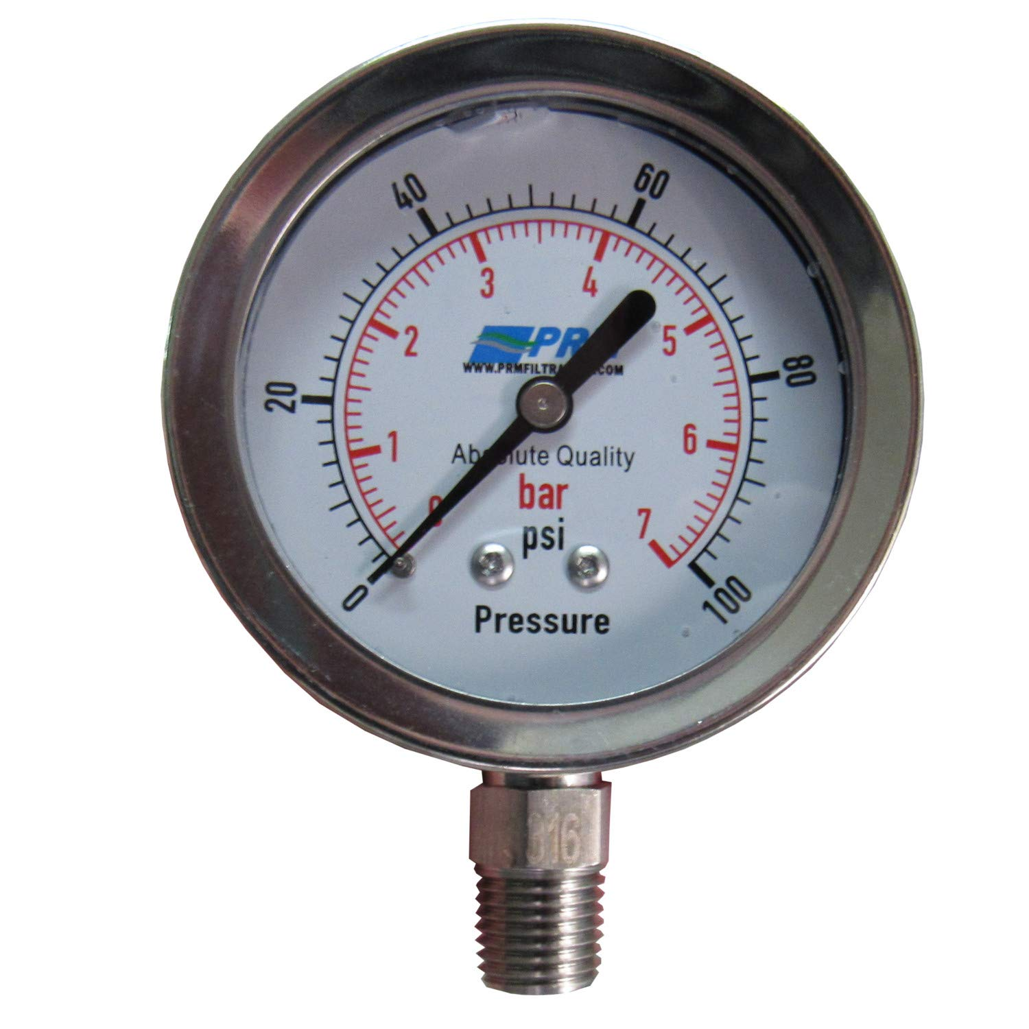 PRM Pressure Gauge, 0-100 PSI / 0-7 BAR - 2.5 Inch SS Case, 1/4 Inch NPT Bottom Connect, Stainless Steel Internals and Fitting