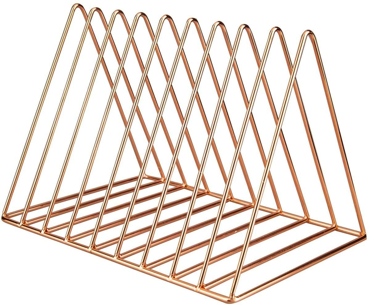 IMEEA 2-Piece Magazine Holder Rack File Organizer Triangle Desktop Storage Book Rack Bookshelf with 9 Slot for Office Home Decoration (Rose Gold)