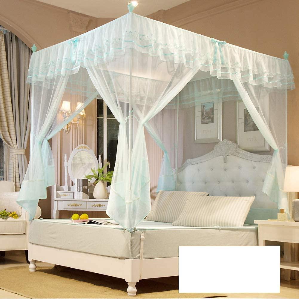ASDFGH Three Openings Lace Rectangular fine mesh Mosquito net, Zipper Encryption Canopy Mosquito Netting Kids Mosquito Netting Home & Travel-Green 120x200cm(47x79inch)