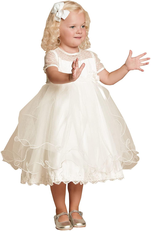 yeoyaw Flower Girl Ivory White Wedding Pageant Lace Tulle Flower Girl Dress