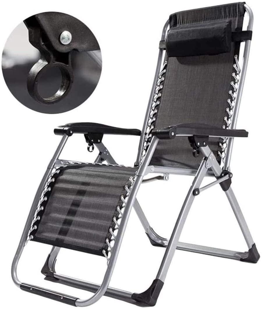 Patio Furniture Garden Sun Loungers, Reclining Garden Chair Beach Sun Lounger Recliner Chairs in Deck Folding Recliner Zero Gravity Outdoor Chair - Support 200kg Happy (Color : Black)