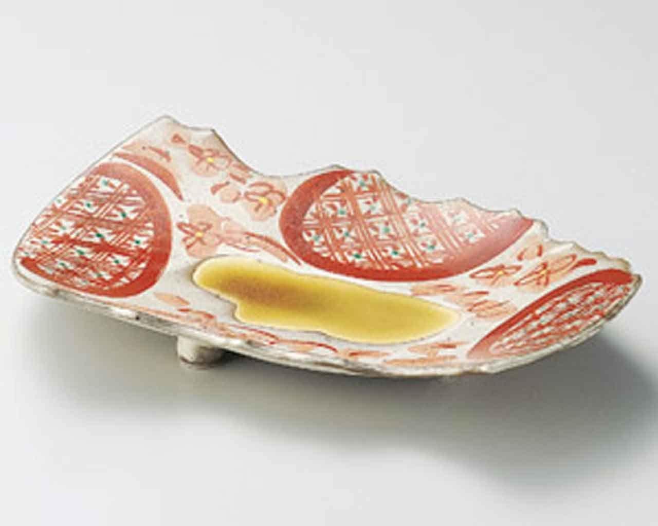 Akae Flower 11.6inch Set of 5 Medium Plates Beige Ceramic Made in Japan