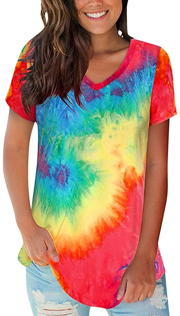 Eduavar Women Shirts Girls Casual Summer Basic V Neck T Shirt Mesh Short Sleeve Loose Comfort Tee Tunic Blouse Tops