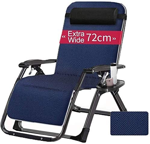 Aoyo Oversized Zero Gravity Folding Deck Chair, Large Reclining Armchair for Outdoor Patio for Swimming Pool, Porch, Garden, Garden Chair, Portable Chair, (Color : Black)