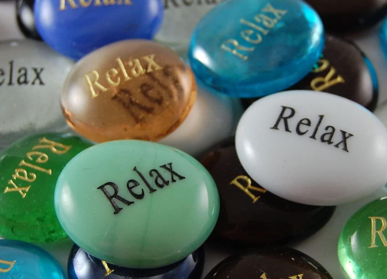 Set of 6 Relax Engraved Glass Spirit Stones