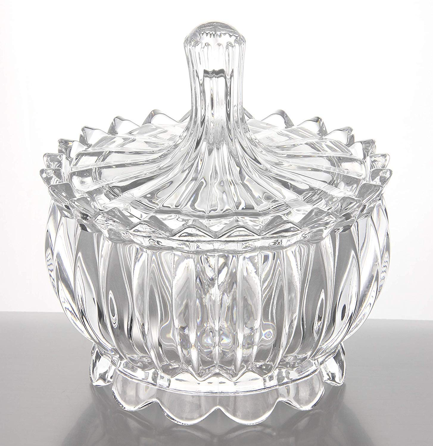 New 2018 Crystal Castle Design Glass Covered Storage Jar, Candy Dish Box