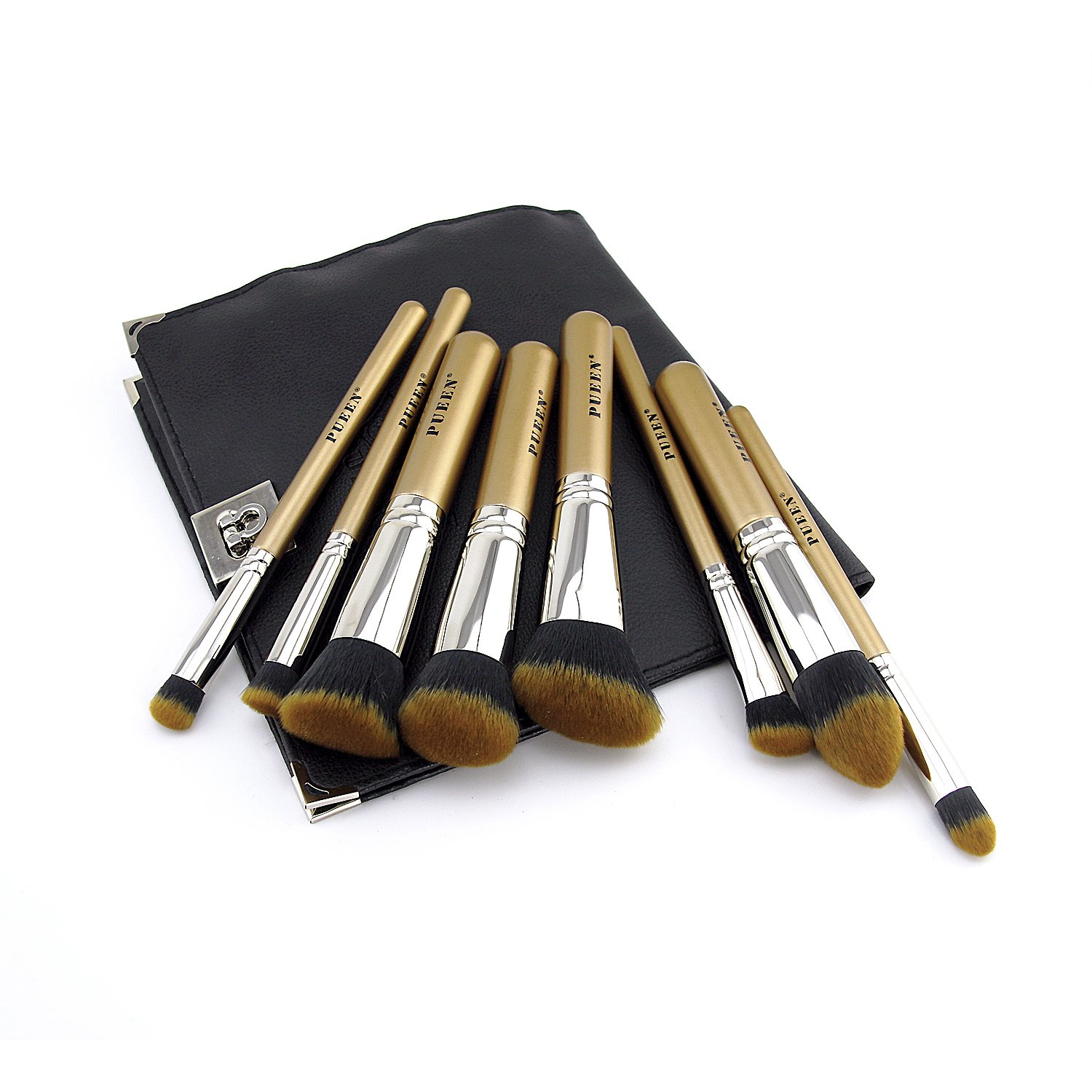 PUEEN Professional Kabuki Makeup Brush Set - Premium Quality Hand-crafted Cosmetic Brushes Kit - 8 Piece Collection - 100% Pure Luxury Copper Ferrules! BIG SALE -BH000176
