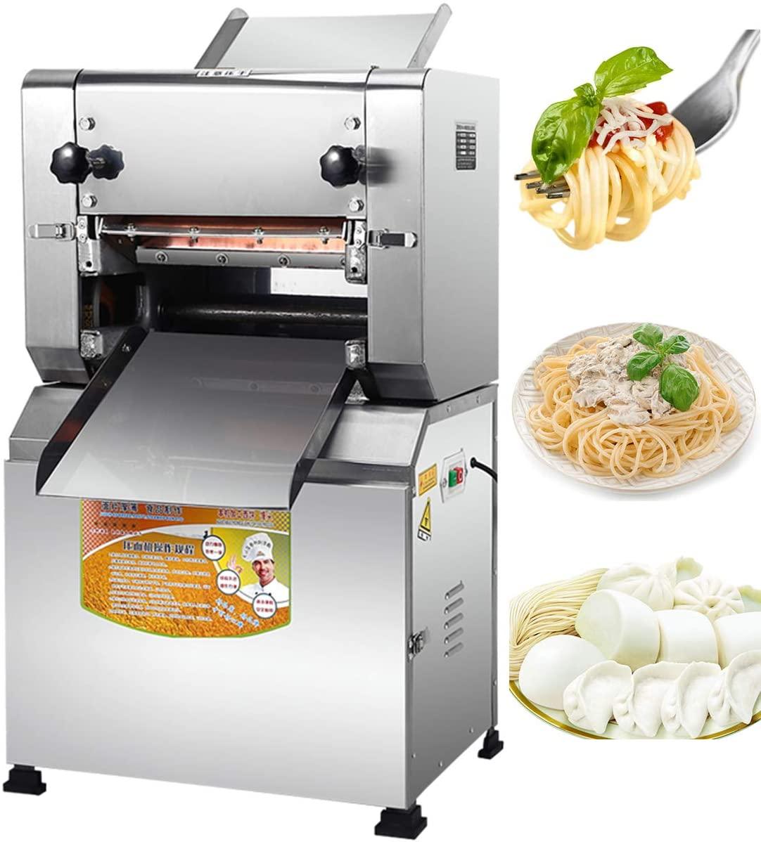NEWTRY Electric Commercial Pasta Maker Machine Professional Dumpling Dough Noodle Skin Maker Multi-function Noodle Pasta Spaghetti Roller Pressing Machine 1500W (Flat noodles blade 2mm)