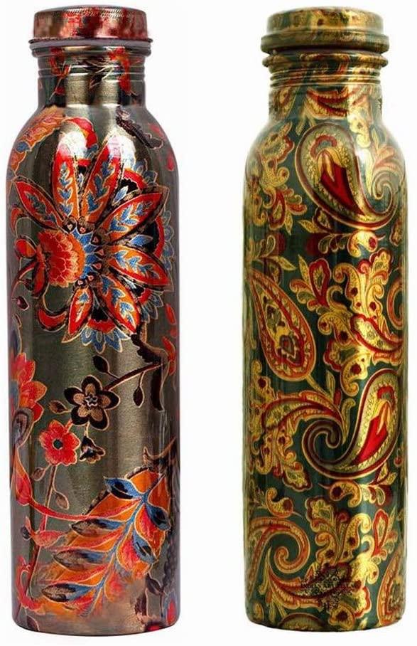 Leak Proof Copper Water Bottle,Printed Flower Design 1000 ml Bottle (Pack of 2, Multi Color)
