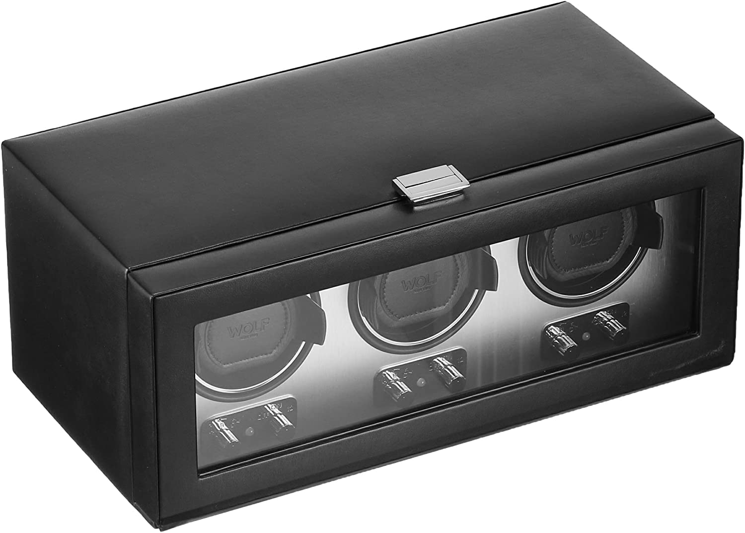 WOLF 270203 Heritage Triple Watch Winder with Cover, Brushed Metal