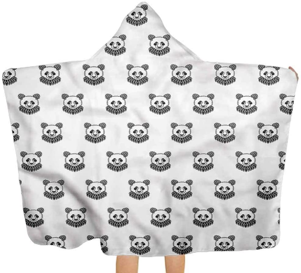 ThinkingPower Baby Bath Towel Tattoo, Panda Bear Portraits Premium Toddler Towel with Hood for Newborns, Infants and Toddlers 51.5x31.8 Inch